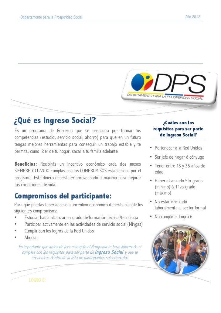 Departamento para la Prosperidad Social                                                        Año 2012                   ...