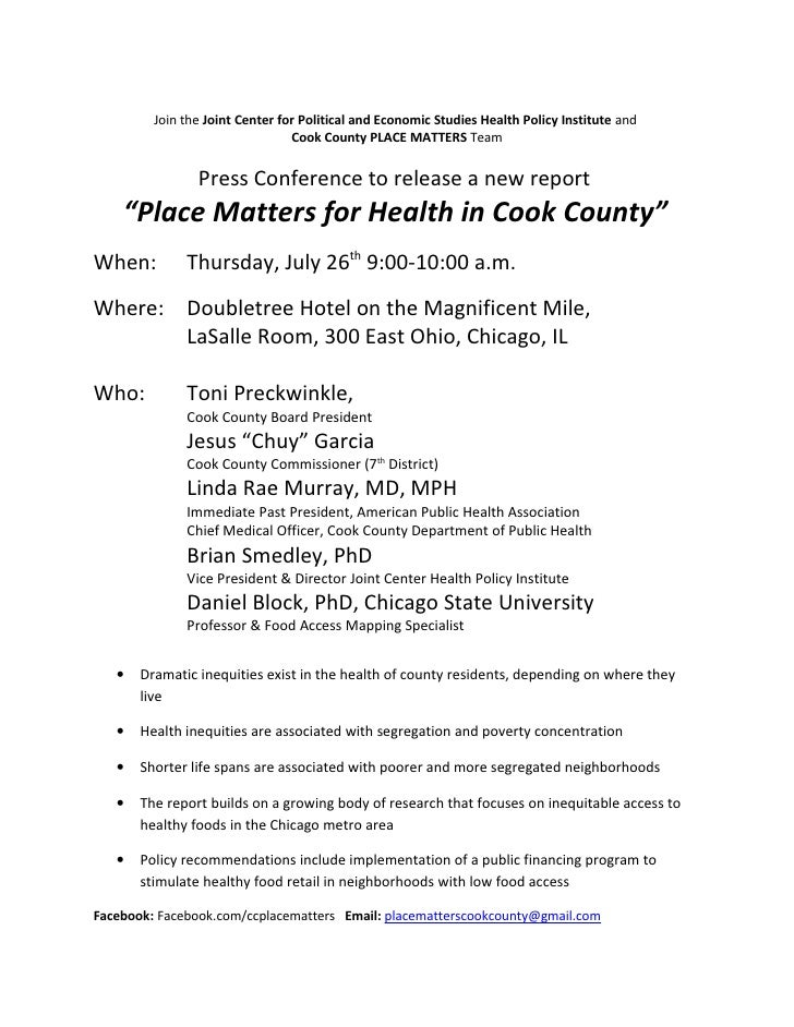 Media Alert Press Conference Place Matters July 26th 9 am