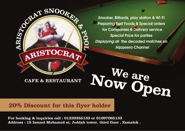 Snooker, Billiards, play station & WI-FI Preparing Fast Foods & Special orders for Companies & Delivery service Special Pr...