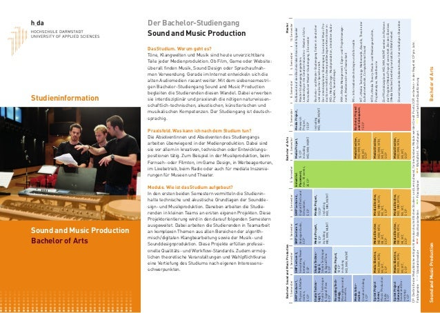Sound and Music Production Bachelor of Arts Studieninformation Der Bachelor-Studiengang Sound and Music Production Das Stu...