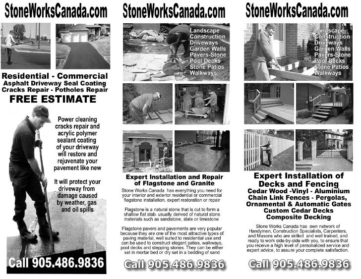 Stone Works Canada installs, repairs and maintains interlocking stone pavers, natural stone