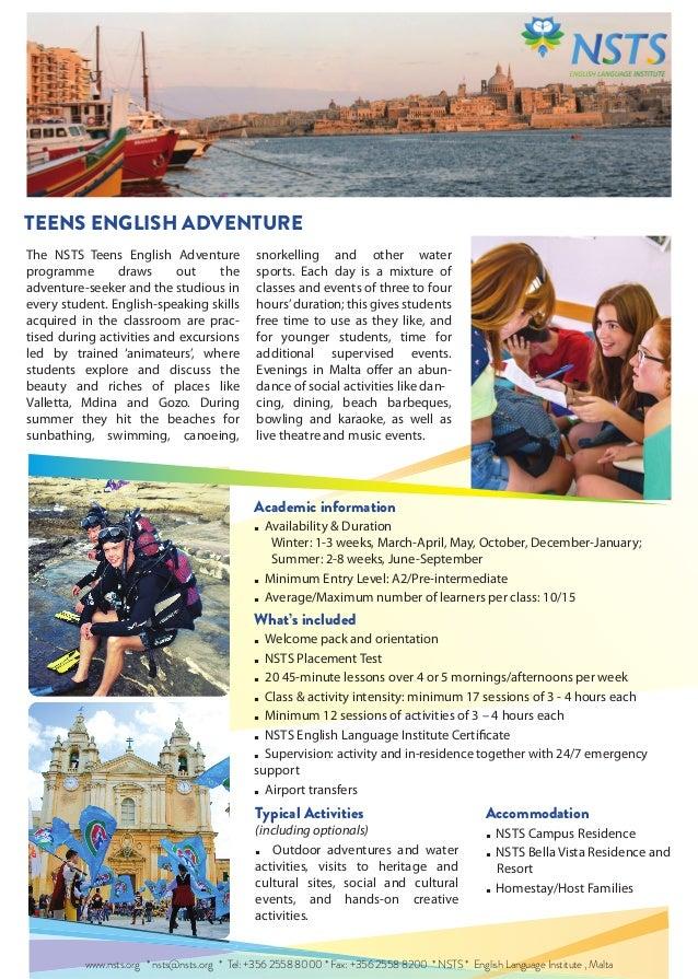 TEENS ENGLISH ADVENTURE - PROGRAMME 2014