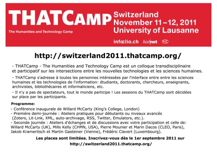 THATCamp Switzerland, Lausanne, 11-12 nov. 2011