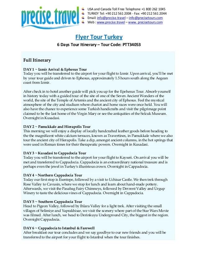 Flyer Tour Turkey in 6 Days