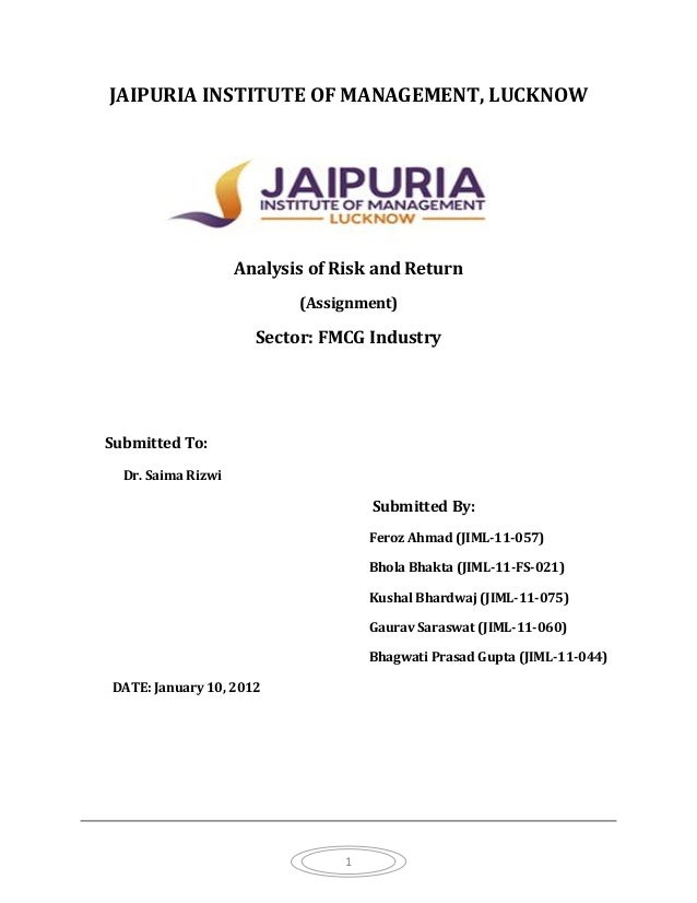 JAIPURIA INSTITUTE OF MANAGEMENT, LUCKNOW                    Analysis of Risk and Return                           (Assign...