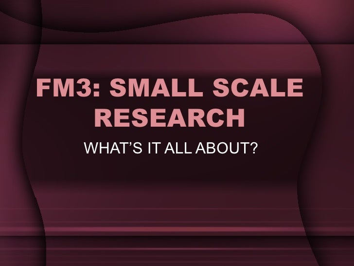 FM3: SMALL SCALE RESEARCH WHAT'S IT ALL ABOUT?