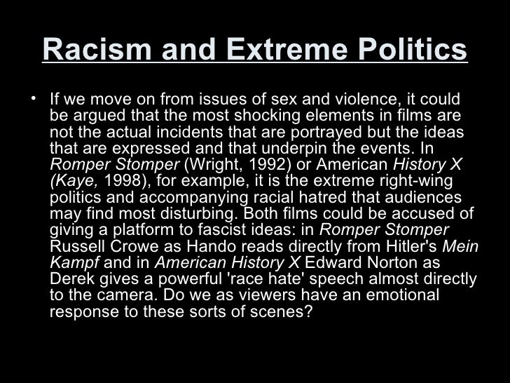Racism and Extreme Politics <ul><li>If we move on from issues of sex and violence, it could be argued that the most shocki...