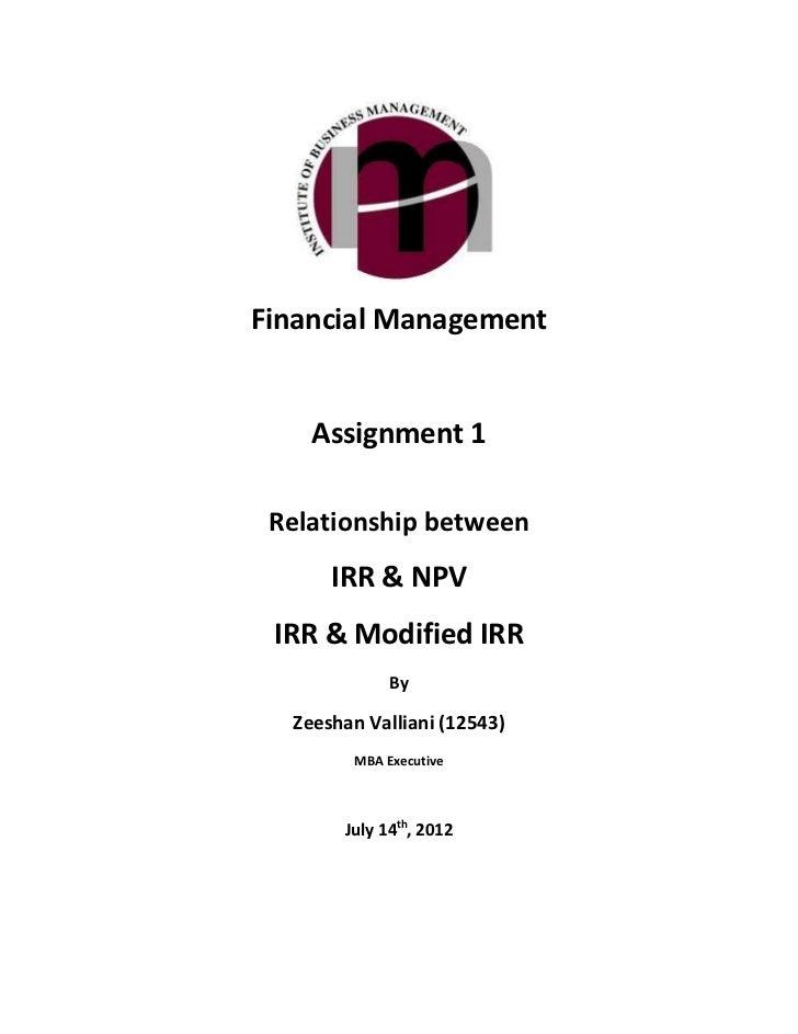 Relationship between IRR & NPV