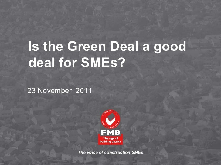 is the green deal a good deal for sme's