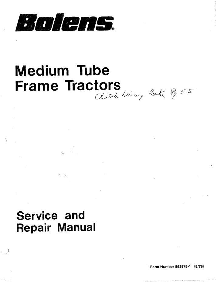 Fmc Bolens Medium Tube Frame Husky Tractors Service Manual