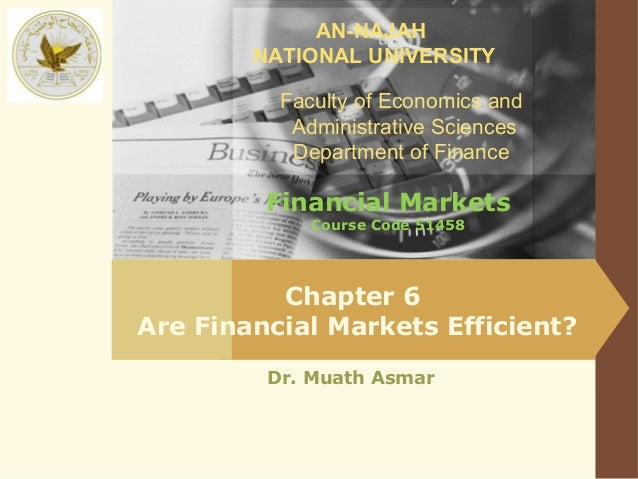 AN-NAJAH        NATIONAL UNIVERSITY          Faculty of Economics and           Administrative Sciences           Departme...