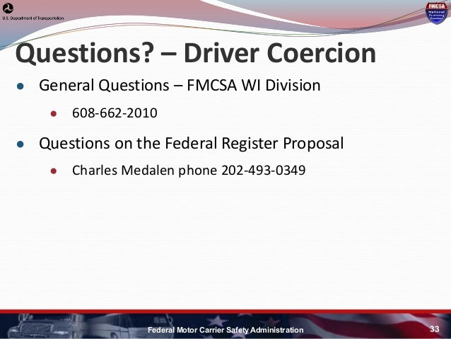 Regulations section federal motor carrier safety autos post for Federal motor carrier safety regulations