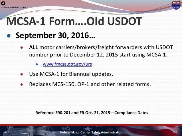 Hni u fmcsa update for Federal motor carrier number