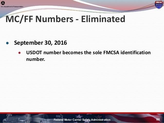 Hni u fmcsa update for Federal motor carrier safety administration