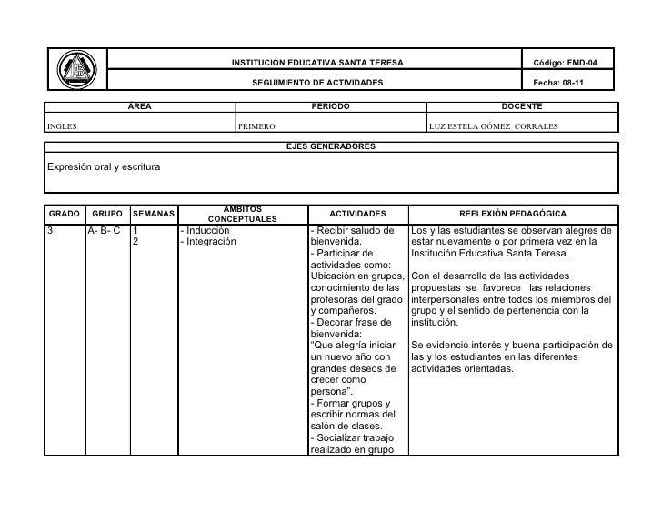 INSTITUCIÓN EDUCATIVA SANTA TERESA                                   Código: FMD-04                                       ...
