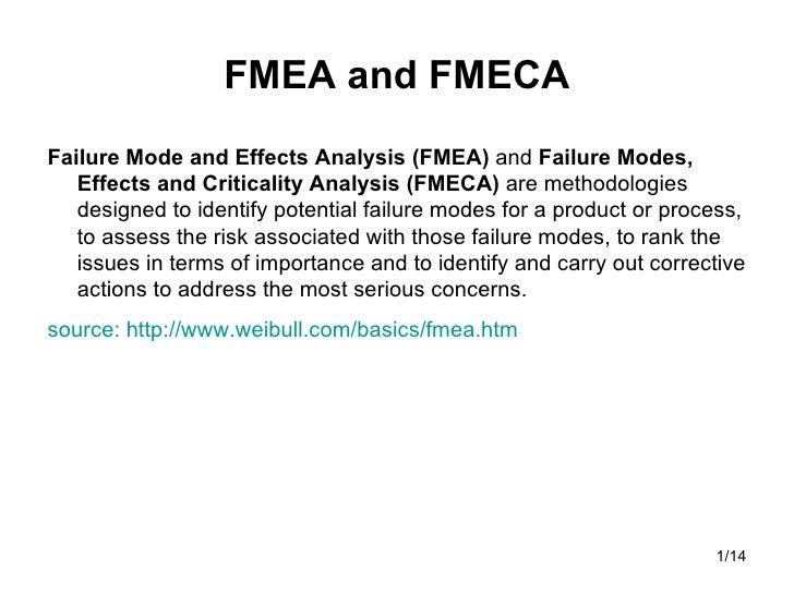 FMEA and FMECA <ul><li>Failure Mode and Effects Analysis (FMEA)  and  Failure Modes, Effects and Criticality Analysis (FME...
