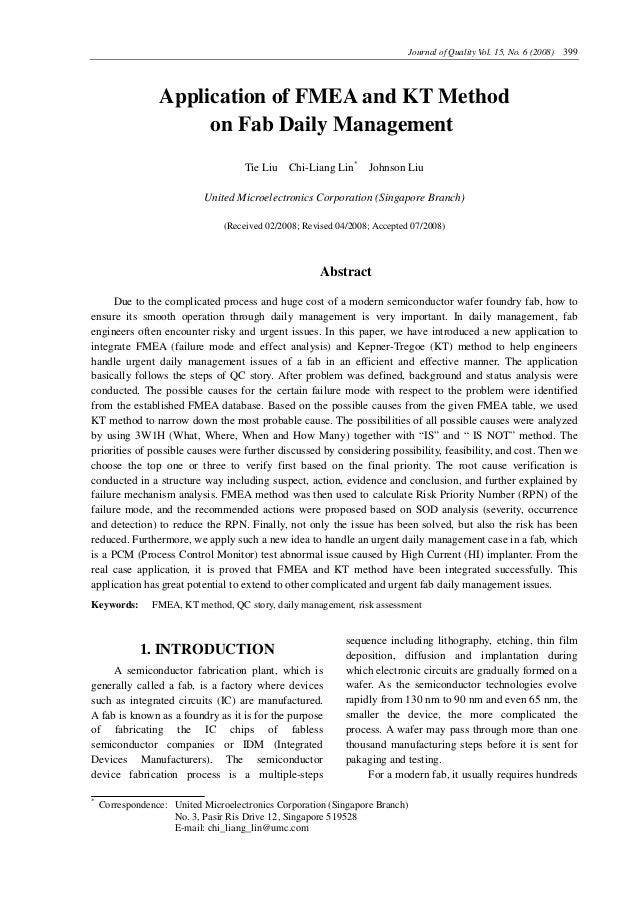 Journal of Quality Vol. 15, No. 6 (2008) 399  Application of FMEA and KT Method on Fab Daily Management Tie Liu Chi-Liang ...