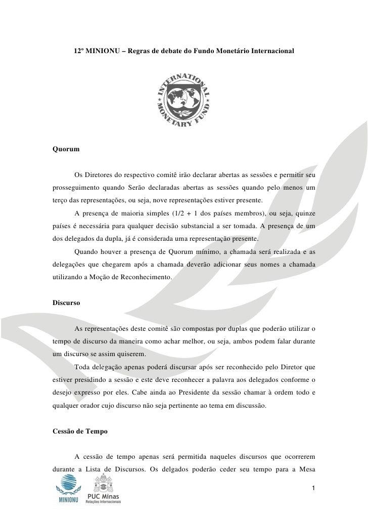 12º MINIONU – Regras de debate do Fundo Monetário Internacional       12º MINIONU – Regras de debate do Fundo Monetário In...