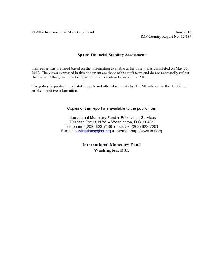 Informe FMI sobre Sector financiero español