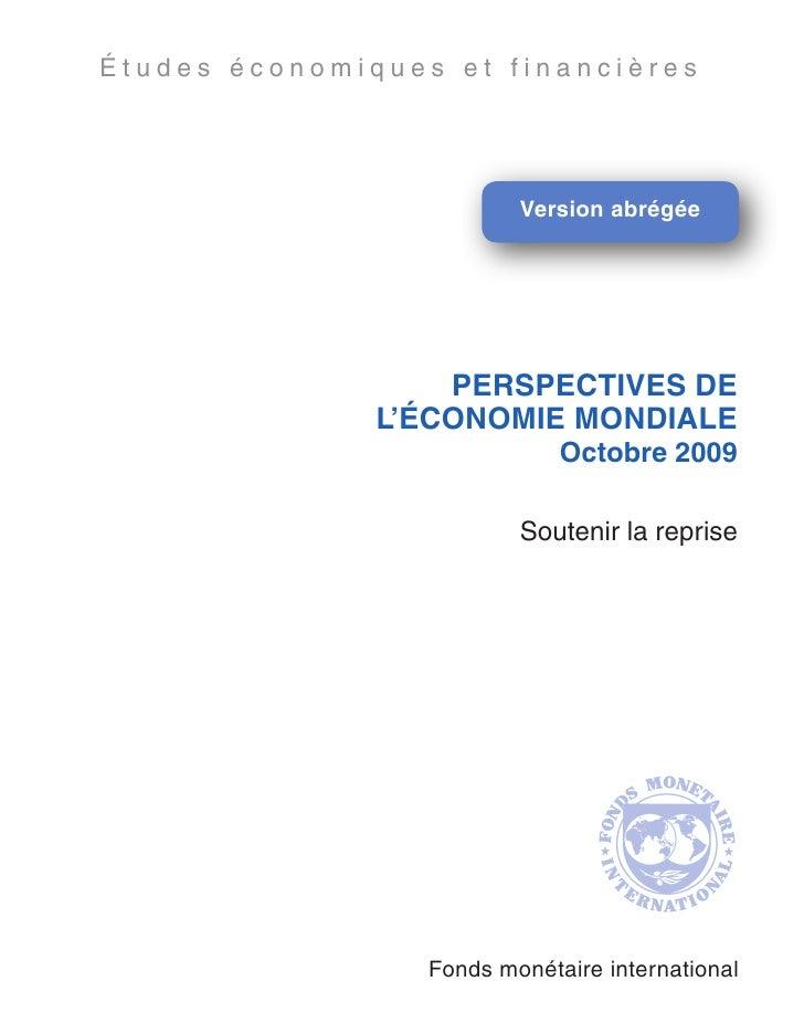 Perspectives de l'économie mondiale. Oct. 2009