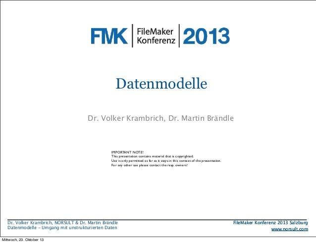 Datenmodelle Dr. Volkermit (un)strukturierten Daten Umgang Krambrich, Dr. Martin Brändle Problemstellung Modellbildung Bei...