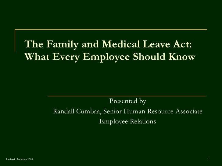 Fmla Employee Training V.4 Revised 02 11 09