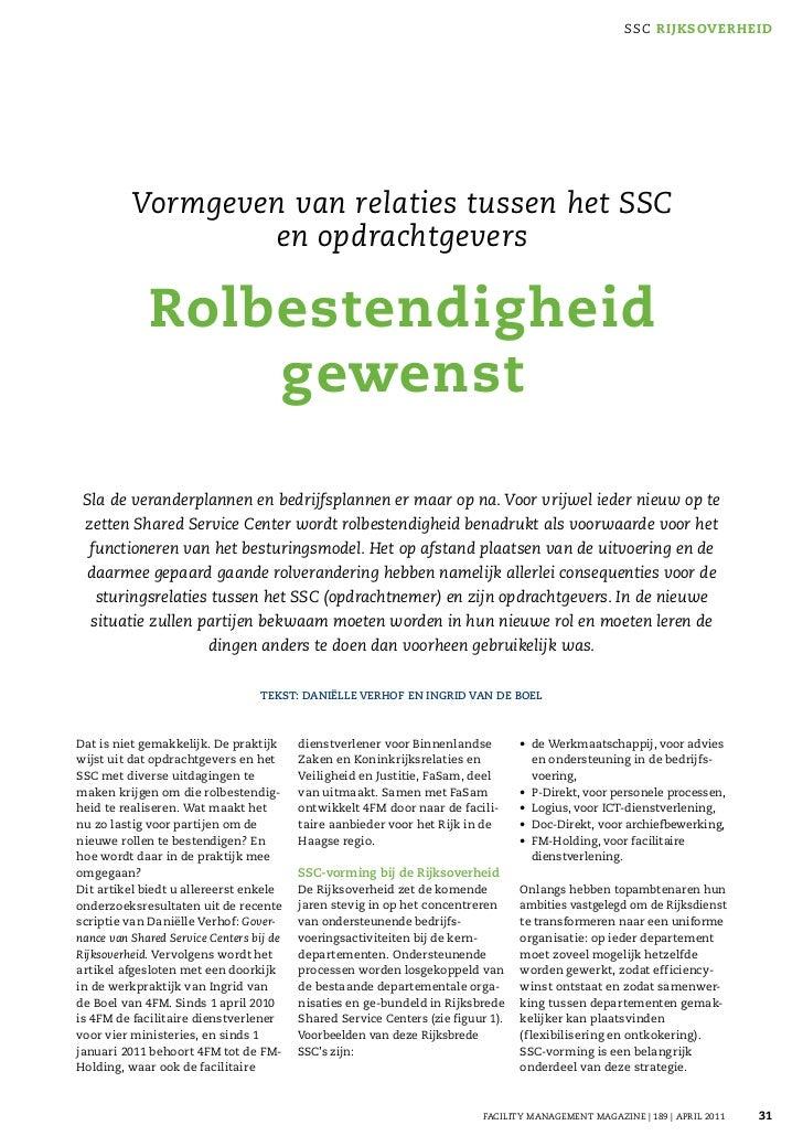 FMm Vormgeven Van Relaties Tussen Ssc En Opdrachtgevers Rolbestedigheid Gewenst