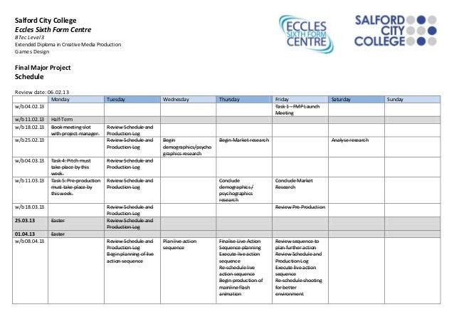 Fmp schedule 21.05.2013