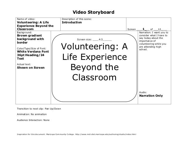 Video StoryboardName of video:                               Description of this scene:Volunteering: A Life               ...