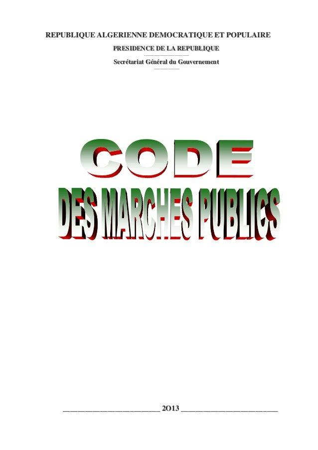 Code des Marchés Publics - Algérie