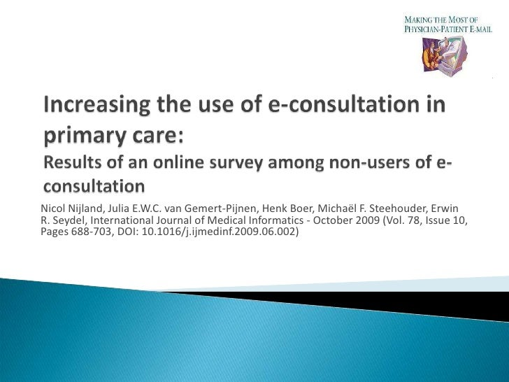 CATCH-IT: Increasing the use of e-consultation in primary care: Results of an online survey among non-users of e-consultat...