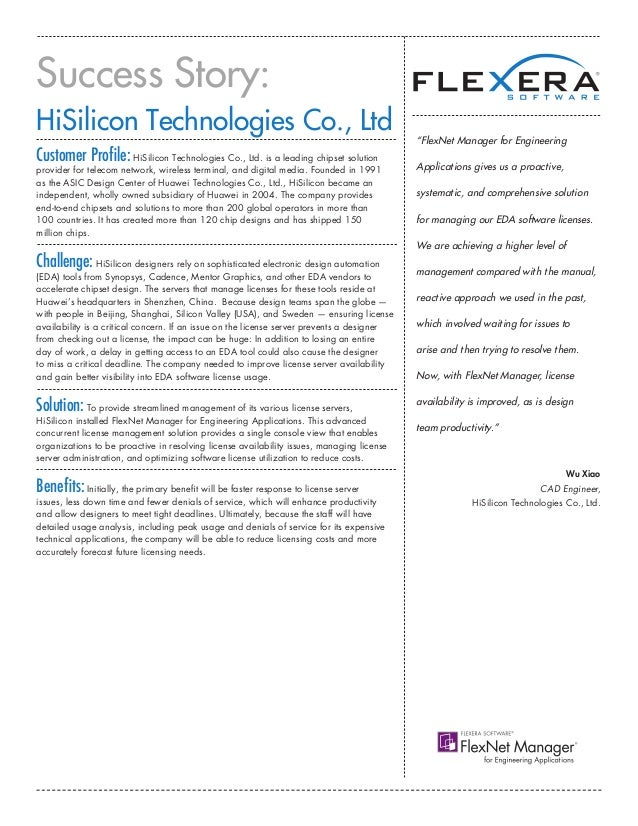 FlexNet Manager for Engineering Applications HiSilicon Technologies Co., Ltd Success Story