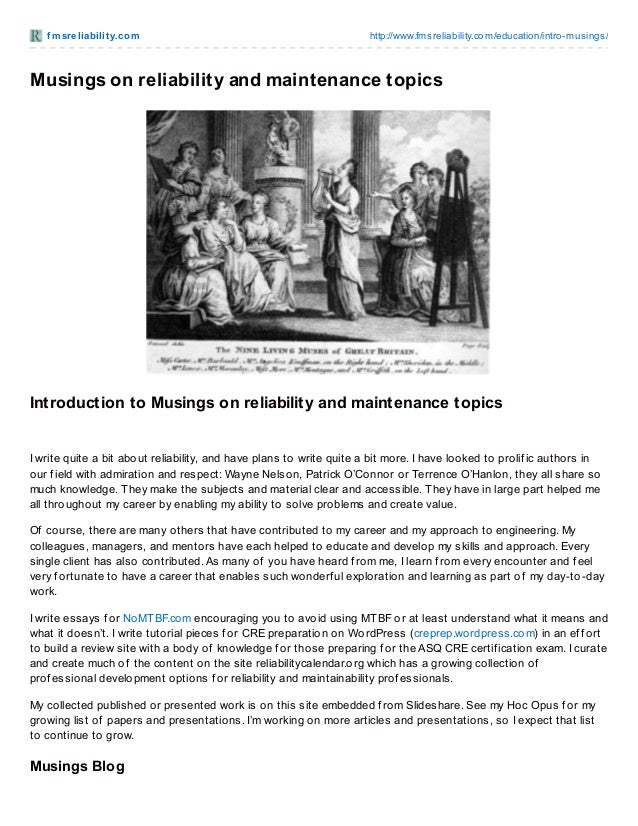 FMS Reliability Introduction to Musings on reliability and maintenance topics