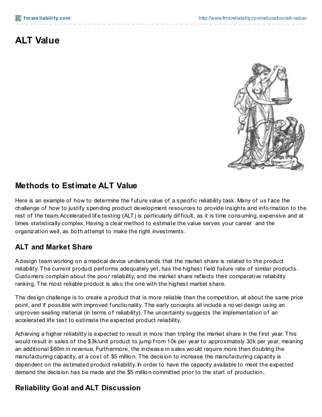 f msreliabilit y.com http://www.fmsreliability.com/education/alt-value/ ALT Value Methods to Estimate ALT Value Here is an...