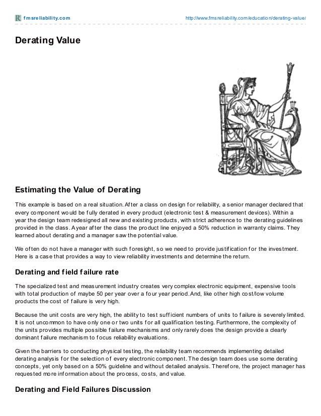 f msreliabilit y.com http://www.fmsreliability.com/education/derating-value/ Derating Value Estimating the Value of Derati...
