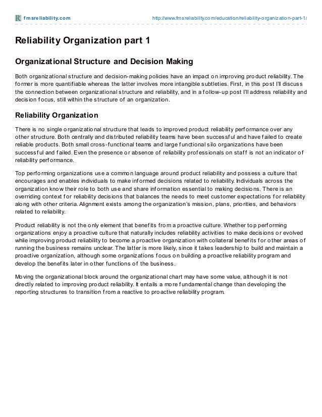Reliability Organization part 1