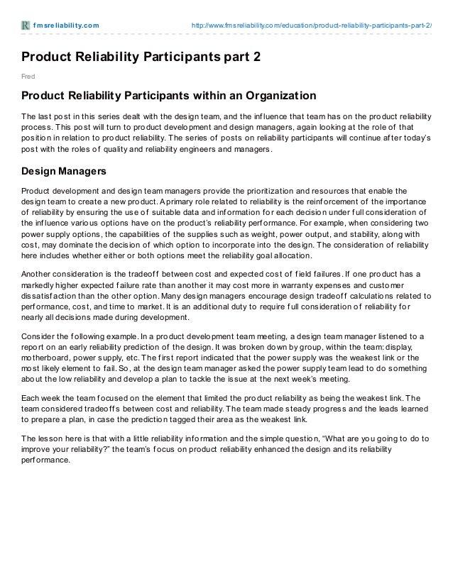 f m sre liabilit y.co m  http://www.fmsreliability.co m/educatio n/pro duct-reliability-participants-part-2/  Product Reli...