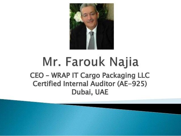 CEO – WRAP IT Cargo Packaging LLC Certified Internal Auditor (AE-925) Dubai, UAE