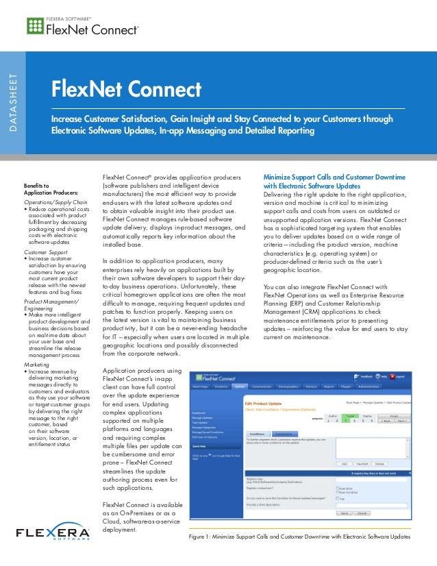 DATASHEET FlexNet Connect FlexNet Connect® provides application producers (software publishers and intelligent device manu...