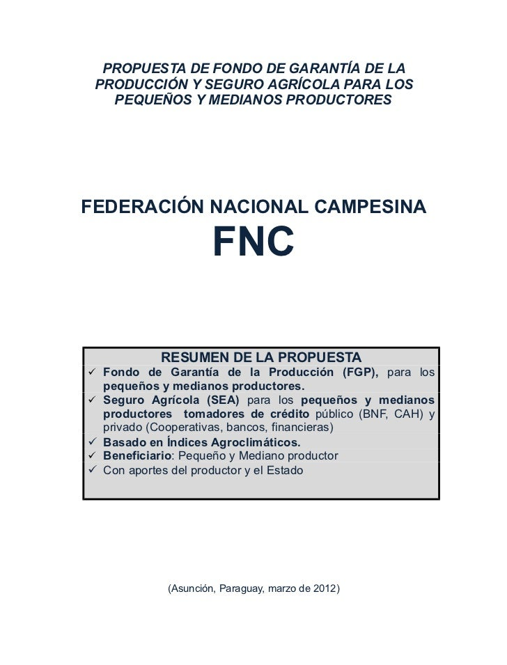 FNC Paraguay propuesta seguro agricola