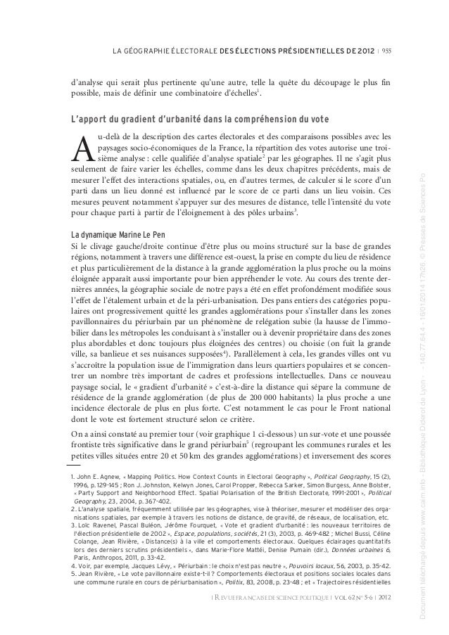 LA GÉOGRAPHIE ÉLECTORALE DES ÉLECTIONS PRÉSIDENTIELLES DE 2012 R 955  d'analyse qui serait plus pertinente qu'une autre, t...