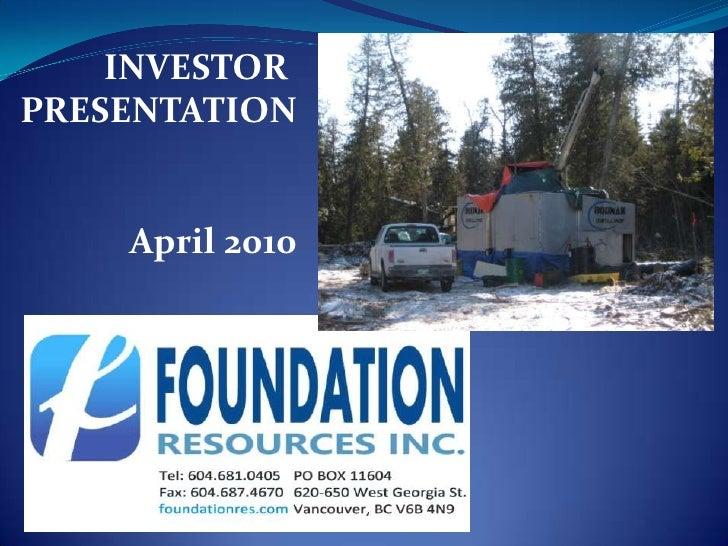 INVESTOR PRESENTATION       April 2010