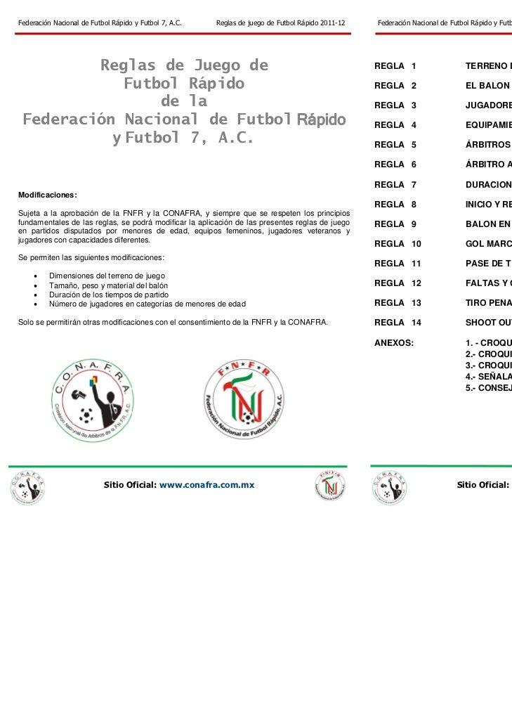 Federación Nacional de Futbol Rápido y Futbol 7, A.C.       Reglas de juego de Futbol Rápido 2011-12   Federación Nacional...