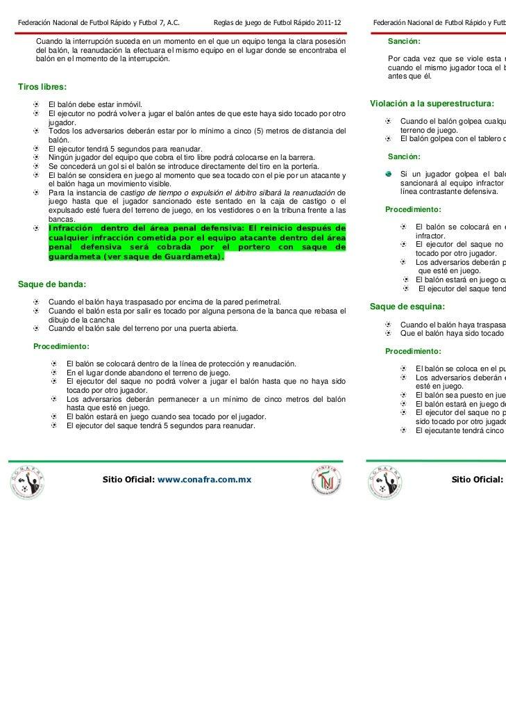 Fnfr reglas de juego de futbol r pido 2011 pdf for Cuando es fuera de lugar futbol