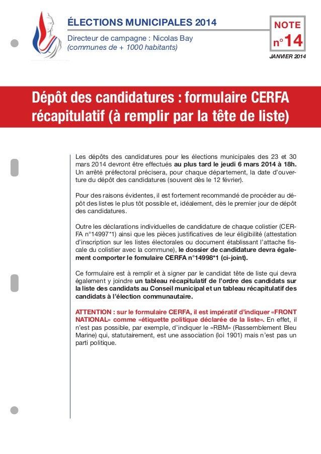 Élections municipales 2014 Directeur de campagne : Nicolas Bay (communes de + 1000 habitants)  NOTE  n°14  JANVIER 2014  D...