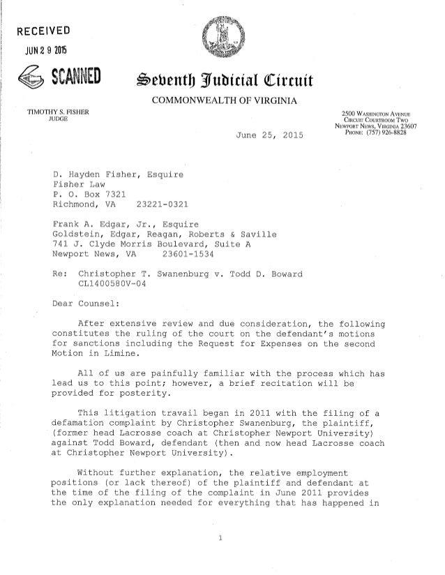 Judge's opinion letter sanctions june 25 2015