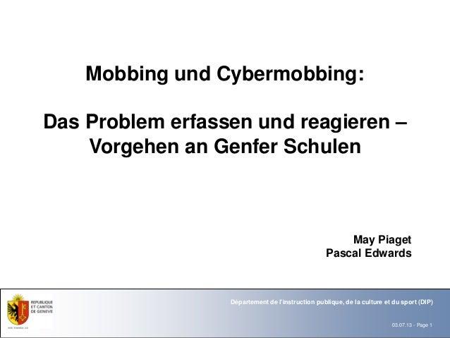 Mobbing und Cybermobbing:Das Problem erfassen und reagieren –    Vorgehen an Genfer Schulen                               ...