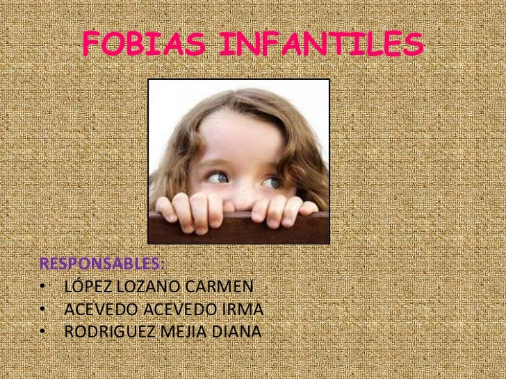 FOBIAS INFANTILESRESPONSABLES:• LÓPEZ LOZANO CARMEN• ACEVEDO ACEVEDO IRMA• RODRIGUEZ MEJIA DIANA