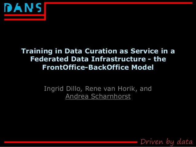 Training in Data Curation as Service in a Federated Data Infrastructure - the FrontOffice-BackOffice Model Ingrid Dillo, R...