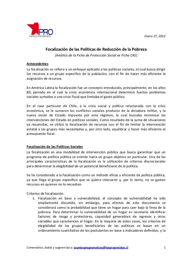 Enero 27, 2012              Focalización de las Políticas de Reducción de la Pobreza                    (Análisis de la Fi...